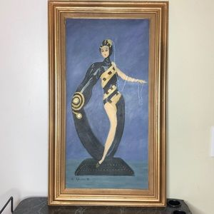 Etre pearls and emeralds Art Deco painting